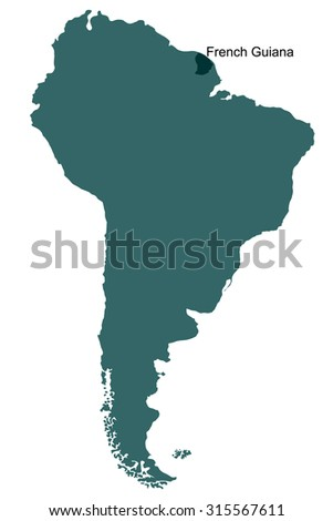 Map South America French Guiana Stock Vector Royalty Free