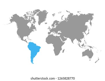 The map of South America is highlighted in blue on the world map