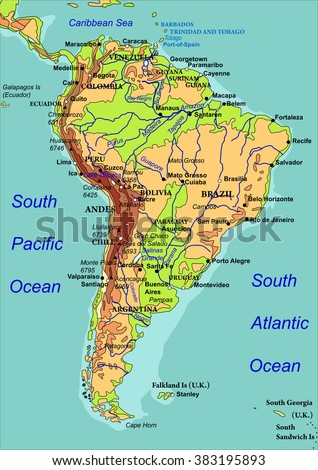 Map South America Names Countries Cities Stock Vector (Royalty Free ...