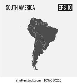 map of South America with regions EPS 10