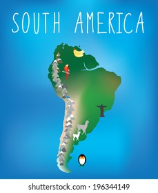 map of south america showing famous landmarks