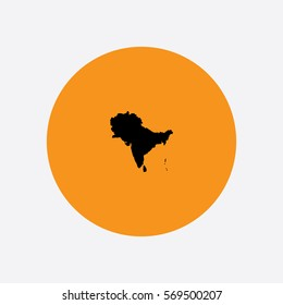 map of south asia with countries vector illustration