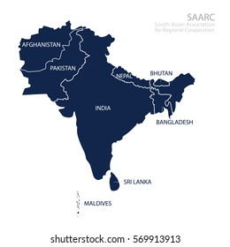Map of South Asian Association for Regional Cooperation. SAARC map with countries list.