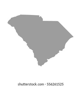 Map of South Carolina in gray on a white background