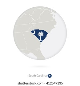 Map of South Carolina State and flag in a circle. South Carolina US State map contour with flag. Vector Illustration.