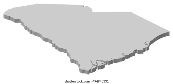 Map - South Carolina (United States) - 3D-Illustration