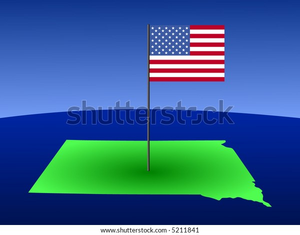 map of South Dakota with American Flag on pole