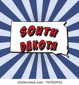 map of south dakota u.s. state in pop art style with dotted shadows and radial lines in shape of rays