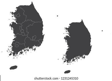 Map - South Korea Couple Set , Map of South Korea,Vector illustration eps 10.