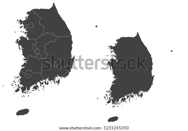 地図 韓国カップルセット 韓国の地図 ベクターイラストeps10 のベクター画像素材 ロイヤリティフリー