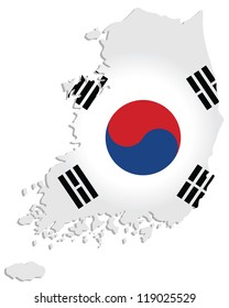 map of South Korea with the image of the national flag
