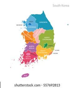 Map of South Korea. Vector