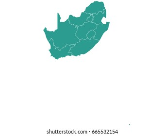 map of southAfrica isolated on white background