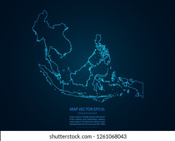 Map of southeast asia,Abstract mash line and point scales on dark background for your web site design map logo, app, ui,Travel. Vector illustration eps 10.