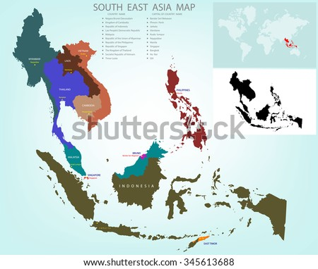 Map Of Asia With Country Names.Map Southeastern Asia Divided By Countries Stock Vector Royalty