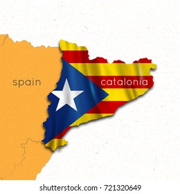 Map of Spain and Catalonia. Region of Catalonia. The referendum on the independence of Catalonia in Spain. Vector Illustration
