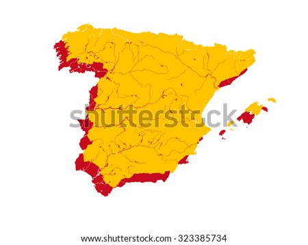 Spanish Map Of Spain.Map Spain Colors Spanish Flag Colors Stock Vector Royalty Free