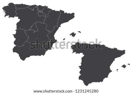 Map Of Spain Vector Free.Map Spain Couple Set Map Spain Vector Stock Vector Royalty Free