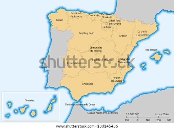 Map Of Spain And Its Islands.Map Spain Islands Autonomous Communities Escale Stock Vector