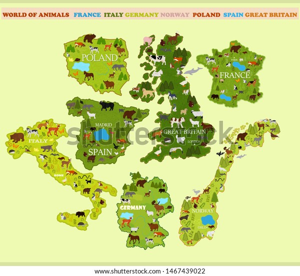 Map Spain Italy France Norway Great Stock Vector (Royalty ...