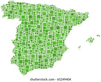 Map of Spain. A number of 1684 squares are inserted into the mosaic