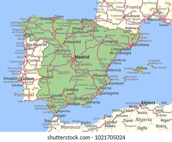 Map of Spain. Shows country borders, urban areas, place names and roads. Labels in English where possible.Projection: Spherical Mercator.