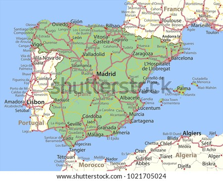Map Spain Shows Country Borders Urban Stock Vector Royalty Free