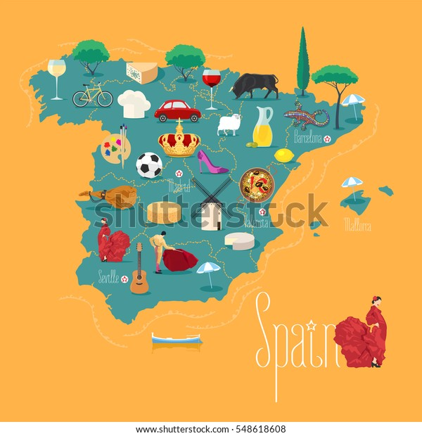 Map Of Spain Vector Free.Map Spain Vector Illustration Design Icons Stock Vector Royalty