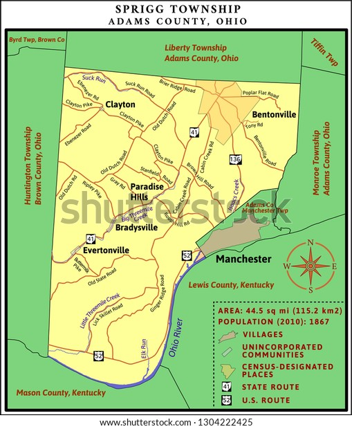 Map Sprigg Township Adams County Ohio Stock Vector Royalty Free