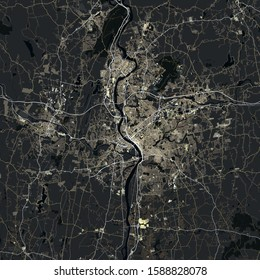 Map Springfield city. Massachusetts. USA