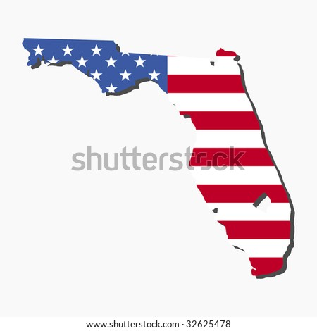 Map State Of Florida.Map State Florida American Flag Illustration Stock Vector Royalty