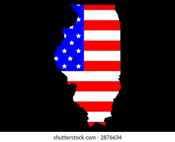 Map of the State of Illinois and American flag