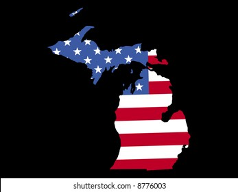 Map of the State of Michigan and American flag