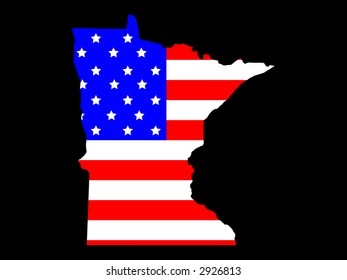 Map of the State of Minnesota and American flag