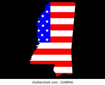 Map of the State of Mississippi and American flag