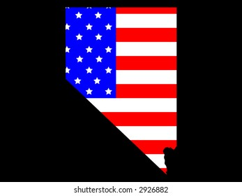 Map of the State of Nevada and American flag