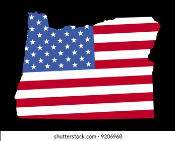 Map of the State of Oregon and American flag