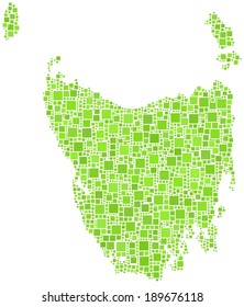 Map of the state of Tasmania - Australia - in a mosaic of green square