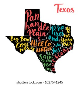Map of state Texas, USA with colorful hand-written names of regions. Vector typography poster.