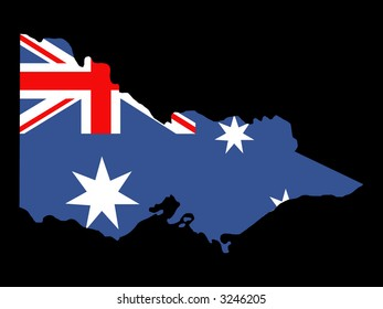 map of state of Victoria and Australian flag