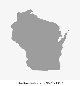 Map  the State of Wisconsin in gray on a white background