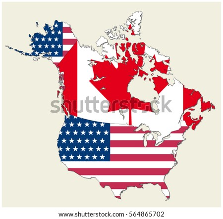 Map States Canada Usa Represented Flag Stock Vector Royalty Free