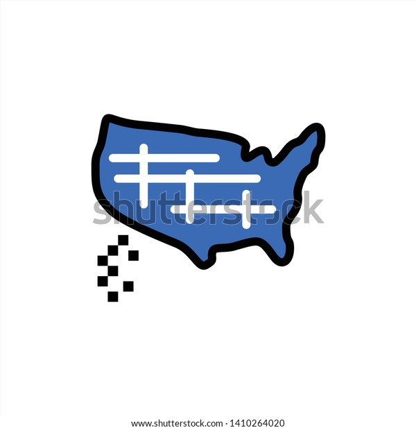 Map States United Usa Flat Color Stock Vector (Royalty Free ...