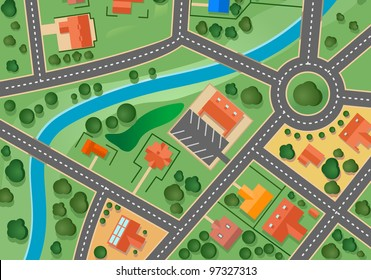 Map of suburb village for sold real estate design. Jpeg version also available in gallery