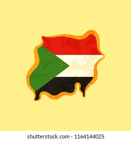 Map of Sudan colored with Sudanese flag and marked with golden line in grunge vintage style.