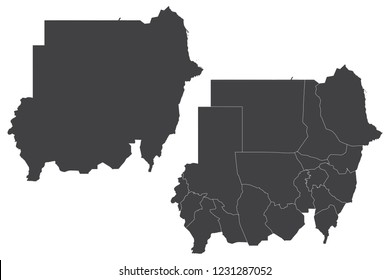 Map - Sudan Couple Set , Map of Sudan,Vector illustration eps 10.