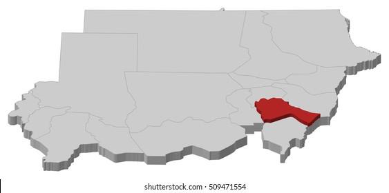 Map - Sudan, Sennar - 3D-Illustration