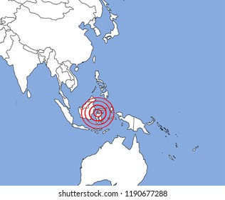 Map of Sulawesi Indonesia, tagged with red circle. Earthquake and tsunami phenomenon. Illustration vector