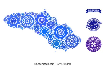 Map of Sumba Island composed with blue gear symbols, and isolated scratched seals for official repair services. Vector abstract mosaic of map of Sumba Island with repair symbols in blue color hues.