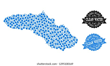 Map of Sumba Island vector mosaic and clean water grunge stamp. Map of Sumba Island composed with blue water drops. Seal with unclean rubber texture for clear drinking water.